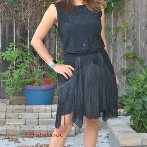 NEW Free People foam Of Daze Fringe MIni-skirt (0)